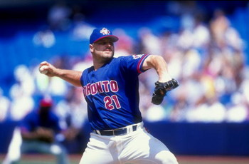 5 Jul 1998:  Pitcher  Roger Clemens #21 of the Toronto Blue Jays throws the 3000th strike out during the game agains the Tampa Bay Devil Rays at the Sky Dome in Toronto, Canada. The Blue Jays defeated the Devil Rays 2-1. Mandatory Credit: Rick Stewart  /A
