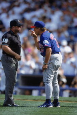 22 Jul 2001:  Buck Martinez #13 of the Toronto Blue Jays yelling at the Umpire Charlie Reliford during the game against the New York Yankees at the Yankee Stadium in the Bronx, New York. The Yankees defeated the Blue Jays 7-3.Mandatory Credit: Ezra O. Sha