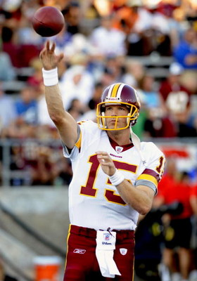 CANTON, OH - AUGUST 3: Quarterback Todd Collins #15 of the Washington Redskins sets to pass against the Indianapolis Colts in the Pro Football Hall of Fame Game at Fawcett Stadium on August 3, 2008 in Canton, Ohio.   (Photo by Al Messerschmidt/Getty Image