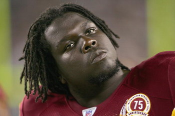 PHILADELPHIA - SEPTEMBER 17:  Stephon Heyer #74 of the Washington Redskins looks on during the game against the Philadelphia Eagles at Lincoln Financial Field on September 17, 2007  in Philadelphia, Pennsylvania. (Photo by: Chris McGrath/Getty Images)