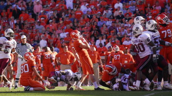 CLEMSON, SC - NOVEMBER 25:  Kicker Jad Dean #7of the Clemson Tigers watches his game-tying field goal go wide during the final seconds of his team's loss to the South Carolina Gamecocks during an NCAA football game at Memorial Stadium November 25, 2006 in