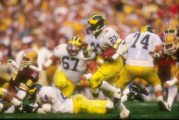 1 Jan 1987: Jamie Morris of Michigan runs through the players during their 22-15 loss to Arizona State at the Rose Bowl in Pasadena, California. Mandatory Credit: Rick Stewart  /Allsport