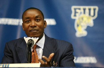 MIAMI - APRIL 15:  Isiah Thomas talks to the media after he was introduced as the new head coach for Florida International Univeristy men's basketball team at U.S.Century Bank Arena on April 15, 2009 in Miami, Florida.  (Photo by Doug Benc/Getty Images)