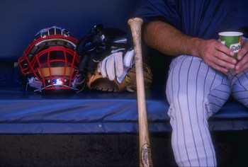 27 Jun 1998:  A general view of the catchers mask for the San Diego Padres sitting on the bench during an interleague game against the Anaheim Angels at Qualcomm Stadium in San Diego, California. The Padres defeated the Angels 5-1Mandatory Credit: Todd Wa