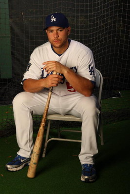 VERO BEACH, FL - FEBRUARY 24:  Russell Martin #55 of the Los Angeles Dodgers poses during Photo Day on February 24, 2008 at Holman Stadium in Vero Beach, Florida.  (Photo by Elsa/Getty Images)