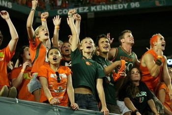 FORT LAUDERDALE, FL - OCTOBER 03: Fans for the Miami Hurricanes celebrate celebrate the game clinching first down against the Oklahoma Sooners at Land Shark Stadium on October 3, 2009 in Fort Lauderdale, Florida. Miami defeated Oklahoma 21-20. (Photo by D