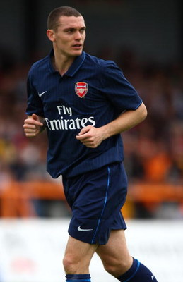 LONDON, ENGLAND - JULY 18:  Thomas Vermaelen of Arsenal in action during the pre-season friendly match between Barnet and Arsenall at Underhill on July 18, 2009 in London, England.  (Photo by Ian Walton/Getty Images)