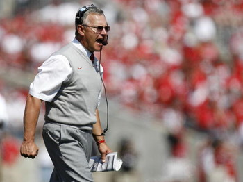 COLUMBUS, OH - SEPTEMBER 20:  Head coach Jim Tressel of the Ohio State Buckeyes yells from the sidelines during the second quarter while playing the Troy Trojans on September 20, 2008 at Ohio Stadium in Columbus, Ohio.  (Photo by Gregory Shamus/Getty Imag