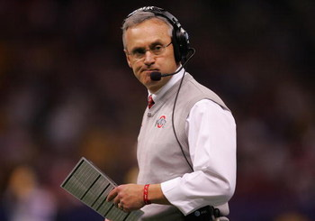 NEW ORLEANS - JANUARY 07:  Jim Tressel, head coach of the Ohio State Buckeyes walks the sidelines during the AllState BCS National Championship against the Louisiana State University Tigers on January 7, 2008 at the Louisiana Superdome in New Orleans, Lou