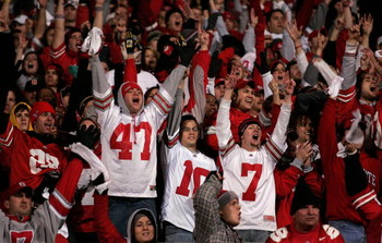 COLUMBUS, OH - NOVEMBER 18:  Fans of the Ohio State Buckeyes celebrate against the Michigan Wolverines November 18, 2006 at Ohio Stadium in Columbus, Ohio. Ohio State won 42-39. (Photo by Gregory Shamus/Getty Images)