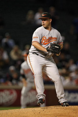 ARLINGTON, TX - APRIL 13:  Pitcher George Sherrill #52 of the Baltimore Orioles during play against the Texas Rangers on April 13, 2009 at Rangers Ballpark in Arlington, Texas.  (Photo by Ronald Martinez/Getty Images)