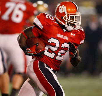 MOBILE, AL - JANUARY 24:  James Davis #22 of the South Team runs during the game against the North Team during the Under Armour Senior Bowl on January 24, 2009 at Ladd-Peebles Stadium in Mobile, Alabama. The South defeated the North 35-18.  (Photo by Chri