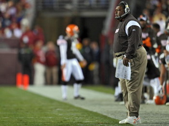LANDOVER, MD - OCTOBER 19: Head coach Romeo Crennel of the Cleveland Browns watches the game from the sideline during the game against the Washington Redskins on October 19, 2008 at FedEx Field in Landover, Maryland. (Photo by Drew Hallowell/Getty Images)