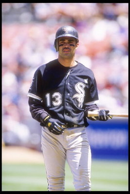 13 Jun 1995: Shortstop Ozzie Guillen of the Chicago White Sox stands on a base during a game against the Oakland Athletics at the Oakland Coliseum in Oakland, California. The White Sox won the game 7-6.