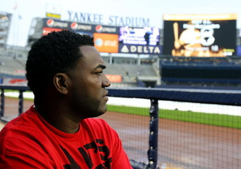 NEW YORK - MAY 04:  David Ortiz #34 of the Boston Red Sox looks on prior to playing the New York Yankees on May 4, 2009 at Yankee Stadium in the Bronx borough of New York City.  (Photo by Jim McIsaac/Getty Images)