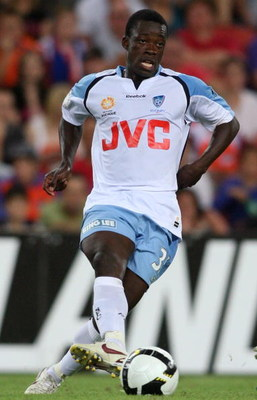 BRISBANE, AUSTRALIA - JANUARY 17:  Kofi Danning of Sydney in action during the round 20 A-League match between the Queensland Roar and Sydney FC on January 17, 2009 in Brisbane, Australia. (Photo by Bradley Kanaris/Getty Images)