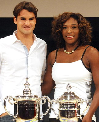 NEW YORK - AUGUST 27: Roger Federer and Serena Williams attend the 2009 US Open Draw Presentation at the New York Times Center on August 27, 2009 in New York City. (Photo by Brad Barket/Getty Images)