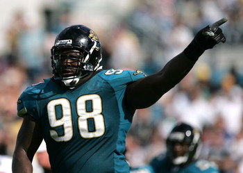 JACKSONVILLE, FL - NOVEMBER 06:  Defensive tackle John Henderson #98 of the Jacksonville Jaquars celebrates after his team recovered a fumble against the Houston Texans on November 6, 2005 at Alltel Stadium in Jacksonville, Florida. The Jaguars defeated t