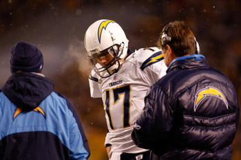 PITTSBURGH - JANUARY 11:  Philip Rivers #17 of the San Diego Chargersstands with his head down next to head coach Norv Turner against the Pittsburgh Steelers during their AFC Divisional Playoff Game on January 11, 2009 at Heinz Field in Pittsburgh, Pennsy