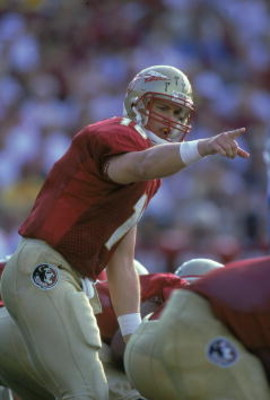 16 Sep 2000:  Quarterback Chris Weinke #16 of the Florida State Seminoles calls out a play during the game against the North Carolina Tar Heels at the Doak Cambell Stadium in Tallahassee, Florida. The Seminoles defeated the Tar Heels 63-14.Mandatory Credi