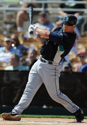 GLENDALE, AZ - MARCH 07:   Jeff Clement #9 of the Seattle Mariners bats during a Spring Training game against the Los Angeles Dodgers at Camelback Ranch on March 7, 2009 in Glendale, Arizona.  (Photo by Lisa Blumenfeld/Getty Images)