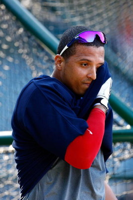 ANAHEIM, CA - JULY 27:  Victor Martinez #41 of the Cleveland Indians takes batting practice prior to the game against the Los Angeles Angels of Anaheim at Angel Stadium on July 27, 2009 in Anaheim, California.  (Photo by Jeff Gross/Getty Images)