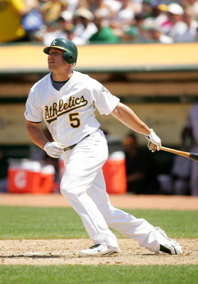 OAKLAND, CA - JUNE 28:  Matt Holliday #5 of the Oakland Athletics bats against the Colorado Rockies at the Oakland Coliseum on June 28, 2009 in Oakland, California.  (Photo by Ezra Shaw/Getty Images)