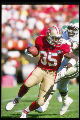 2 Oct 1994:  Running back Dexter Carter of the San Francisco 49ers moves the ball during a game against the Philadelphia Eagles at Candlestick Park in San Francisco, California.  The Eagles won the game, 40-8. Mandatory Credit: Otto Greule Jr.  /Allsport