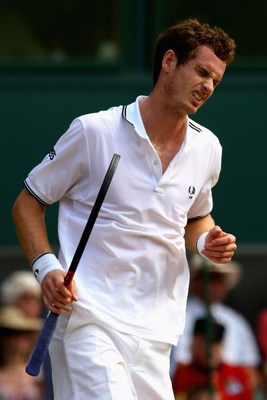 WIMBLEDON, ENGLAND - JULY 03:  Andy Murray of Great Britain reacts during the men's singles semi final match against Andy Roddick of USA on Day Eleven of the Wimbledon Lawn Tennis Championships at the All England Lawn Tennis and Croquet Club on July 3, 20