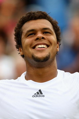 WIMBLEDON, ENGLAND - JUNE 22:  Jo-Wilfried Tsonga of France celebrates victory during the men's singles first round match against Andrey Golubev of Kazakhstan on Day One of the Wimbledon Lawn Tennis Championships at the All England Lawn Tennis and Croquet