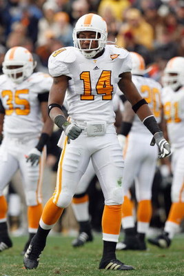 NASHVILLE, TN - NOVEMBER 22:  Eric Berry #14 of the Tennessee Volunteers walks on the field during the game against the Vanderbilt Commodores at Vanderbilt Stadium on November 22, 2008 in Nashville, North Carolina.  (Photo by Kevin C. Cox/Getty Images)