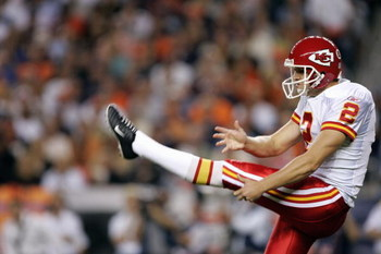 DENVER - SEPTEMBER 26:  Dustin Colquitt #2 of the Kansas City Chiefs kicks during the game with the Denver Broncos on September 26, 2005 at Invesco Field at Mile High stadium in Denver, Colorado.  The Broncos won 30-10.  (Photo by Brian Bahr/Getty Images)