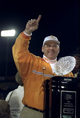 4 Jan 1999:  Head Coach Phillip Fulmer of the Tennessee Volunteers excepting an award after the Tostitos Fiesta Bowl Game against the Florida State Seminoles at the Sun Devil Stadium in Tempe, Arizona. The Volunteers defeated the Seminoles 23-16. Mandator