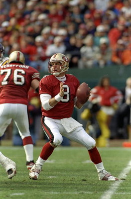 3 Jan 1998:  Quarterback Steve Young #8 of the San Francisco 49ers prepares to throw a pass during the NFC Divisional game against the Minnesota Vikings at 3Com Park in San Francisco, California. The 49ers defeated the Vikings 38-22. Mandatory Credit: Jed