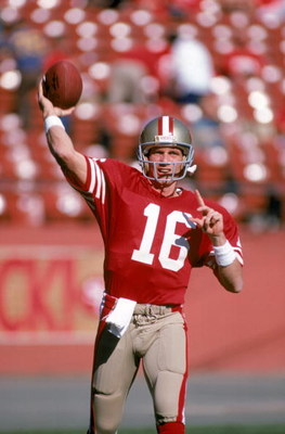 SAN FRANCISCO - NOVEMBER 9:  Quarterback Joe Montana #16 of the San Francisco 49ers throws a pass during a game against the St. Louis Cardinals at Candlestick Park on November 9, 1986 in San Francisco, California.  The 49ers won 43-17.  (Photo by George R