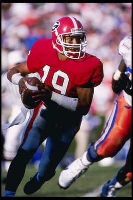 28 Oct 1995:  Quarterback Hines Ward of the Georgia Bulldogs drops back to pass during a game against the Florida Gators at Sanford Stadium in Athens, Georiga.  Florida won the game 52-17. Mandatory Credit: Craig Jones  /Allsport
