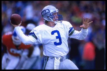 10 Dec 1995:  Quarterback Rick Mirer #3 of the Seattle Seahawks drops back to throw downfield during their game against the Denver Broncos at Mile High Stadium in Denver, Colorado. The Seahawks defeated the Broncos 31-27. Mandatory Credit:  Al Bello/Allsp
