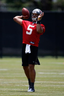 TAMPA, FL - MAY 01:  Quarterback Josh Freeman #5 of the Tampa Bay Buccaneers throws a pass during the Buccaneers Rookie Minicamp at One Buccaneer Place on May 1, 2009 in Tampa, Florida.  (Photo by J. Meric/Getty Images)
