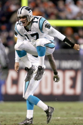 CHICAGO - JANUARY 15:  Quarterback Jake Delhomme #17 of the Carolina Panthers celebrates defeating the Chicago Bears 29-21 in the NFC Divisional playoff game at Soldier Field on January 15, 2006 in Chicago, Illinois.  (Photo by Nick Laham/Getty Images)