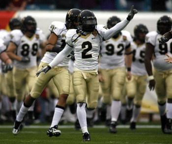 JACKSONVILLE, FL - DECEMBER 2:  Cornerback Alphonso Smith #2 of the Georgia Tech Yellow Jackets celebrates during his team's victory over the Wake Forest Demon Deacons during the Atlantic Coast Conference Championship at Alltel Stadium December 2, 2006 in