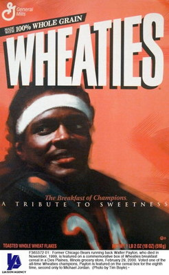 F365372 01: Former Chicago Bears running back Walter Payton, who died in November, 1999, is featured on a commemorative box of Wheaties breakfast cereal in a Des Plaines, Illinois grocery store, February 29, 2000. Voted one of the all-time Wheaties champi