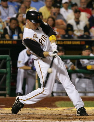 PITTSBURGH, PA - JULY 11:  National League All-Star outfielder Jason Bay #38 bats during the 77th MLB All-Star Game against the American League All-Star team at PNC Park on July 11, 2006 in Pittsburgh, Pennsylvania. The American League won 3-2. (Photo by
