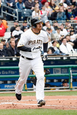 PITTSBURGH - APRIL 13:  Adam LaRoche #25 of the Pittsburgh Pirates makes a hit during the Opening Day game against the Houston Astros at PNC Park on April 13, 2009 in Pittsburgh, Pennsylvania.  (Photo by: Gregory Shamus/Getty Images)
