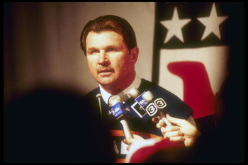 24 Jan 1986:   Head coach Mike Ditka of the Chicago Bears is interviewed at a press conference proir to Super Bowl  XX  game with the New England Patriots at the Louisiana Superdome in New Orleans, Louisiana.  The Bears won the game, 46-10.   Mandatory Cr