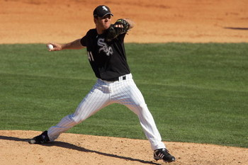 TUCSON, AZ - MARCH 4: Lance Broadway #41 of the Chicago White Sox delivers the pitch during a spring training game against the Los Angeles Angels of Anaheim at Tucson Electric Park on March 4, 2008 in Tucson, Arizona. The White Sox defeated the Angles 7-6