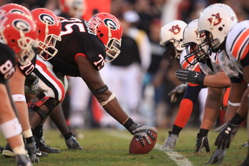 ATHENS - NOVEMBER 10:  The line of scrimmage during the NFL game of the Georgia Bulldogs against the Auburn Tigers at Sanford Stadium on November 10, 2007 in Athens, Georgia. (Photo by Streeter Lecka/Getty Images)