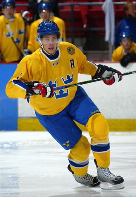 LAKE PLACID, NY - AUGUST 08: Victor Hedman #4 of Team Sweden skates against Team USA at the USA Hockey National Junior Evaluation Camp on August 8, 2008 at the Olympic Center in Lake Placid, New York.  (Photo by Bruce Bennett/Getty Images)