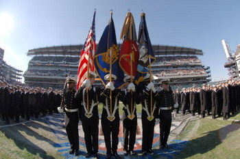 PHILADELPHIA - DECEMBER 3:  In this handout provided by the U.S. Navy, the U.S. Naval Academy Color Guard presents the colors during march-on ceremonies during the 106th playing of Army vs.Navy football game on December 3, 2005 held for the third consecut