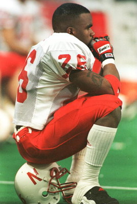7 Dec 1996:  Jerome Peterson #26 of the University of Nebraska sits in the final seconds of the fourth quarter of the Cornhuskers 37-27 loss to the University of Texas in the inaugural Dr. Pepper Big 12 Championship game ay the TWA Dome in St. Louis, Miss