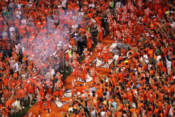 CLEMSON, SC - SEPTEMBER 3:  The Clemson Tigers enter the field between crowds of fans for their game against the Texas A&M Aggies at Clemson Memorial Stadium on September 3, 2005 in Clemson, South Carolina. Clemson defeated Texas A&M 25-24.  (Photo by Str